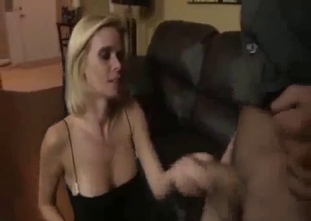 Blonde dressed in black loves her son's cock