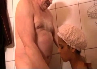 Tanned brunette fucks her hung dad in the shower
