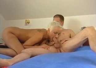 Short-haired blonde fucking her old brother