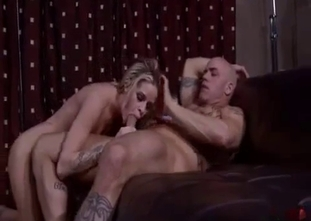 Round booty blonde riding her bald dad's big dick