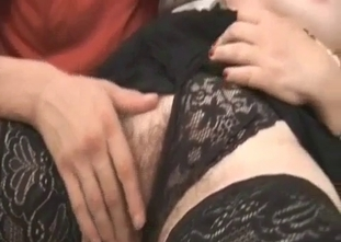 Blonde in black fucking her hung brother