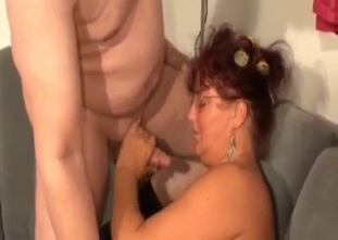 Tanned MILF fucked by her lesbian-looking son