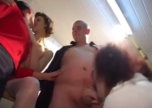 Wavy-haired mommy blows her fat son